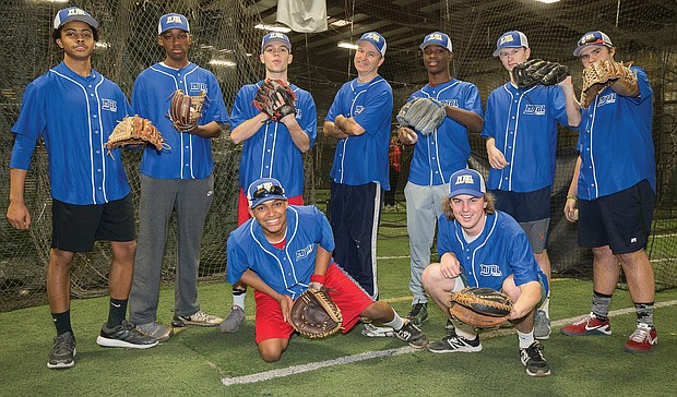 Members of the MJBL East practicing for their upcoming games in Nassau, Bahamas, are, standing from left, M.T. Forrester, Caleb Causey, Louis Raffenot, Coach Hunt Whitehead, Dashawn Smith, Ethan Whitehead and Jesse Walker. Kneeling, Davionne Anderson, left, and Marshall Trout. Team members scheduled to make the trip but not pictured: Joey Trout, John Moore, Marquise Nevillus and Coaches Thomas Eaton and Larry Trout.