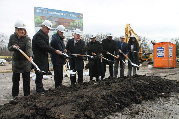 County Officials turn over dirt to break ground on the new Will County Public Health Facility