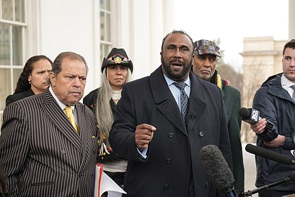 "John W. Boyd, president of the National Black Farmers Association, urges Gov. Northam to stay in office Monday at a Capitol news conference. With him, from left, are Richmond City Treasurer Nichole Armstead, former Richmond City Councilman Henry W. ""Chuck"" Richardson, American Indian Farmers and National Women Farmers' Association President Kara Boyd and the Rev. Rodney Hunter, president of the Richmond Chapter of the Southern Christian Leadership Conference."