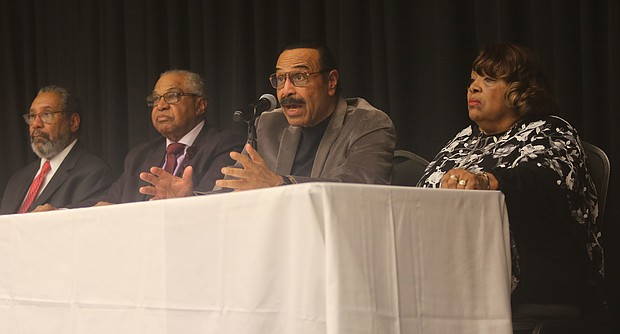 """Honoring the Richmond 34- On Feb. 22, Richmond 34 members participated in a panel discussion, center, at the university. They are, from left, Dr. Anderson J. """"A.J."""" Franklin, Rev. Leroy Bray, Ford T. Johnson Jr. and his sister, Ms. Elizabeth Johnson Rice. (Regina H. Boone/Richmond Free Press)"""