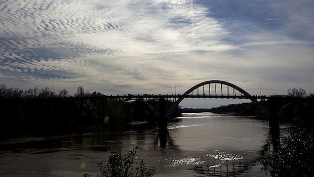 A view of the Edmund Pettus Bridge over the Alabama River in Selma, Ala.