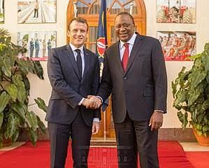 There were smiles all around in Kenya as French President Emmanuel Macron and Kenyan President Uhuru Kenyatta shook hands over ...