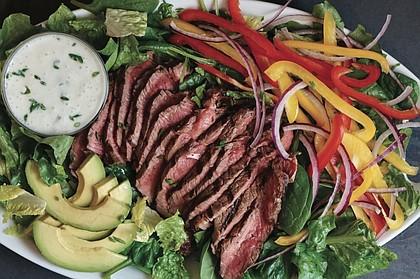 Grilled Steak Salad with Chive Yogurt Dressing