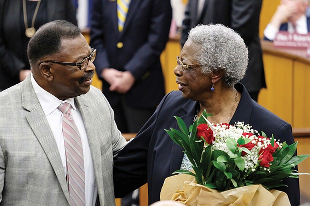 "Annie Reese and her cousin, Hall of Famer Joseph ""Joe"" Taylor, athletic director at Virginia Union University, accept recognition Monday night from Richmond City Council."
