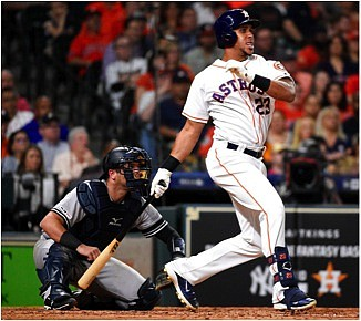 Astros outfielder Michael Brantley was one of many players to take advantage of being home. /photo courtesy of Republican-American
