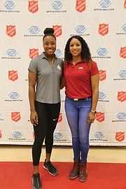 Simone Manuel, right, and Maritza McClendon