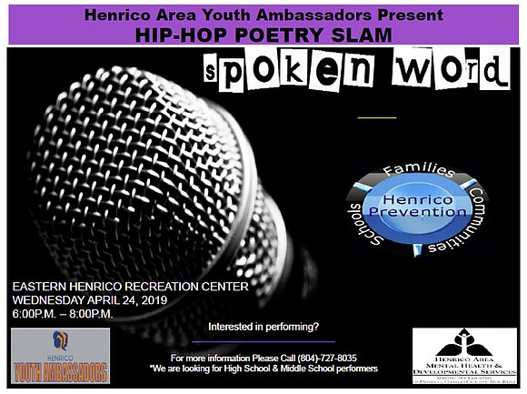 A Hip-Hop Poetry Slam will be held next week to allow Richmond area youths to speak out on preventing substance ...