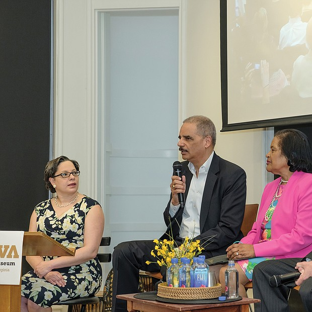 Former U.S. Attorney General Eric H. Holder, second from left, speaks during a civil rights panel discussion last Saturday honoring the legacy of Barbara Johns.
