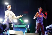 """Something in the Water"" is the brainchild of Virginia Beach native Pharrell Williams, left, who performed Saturday under the banner ""Pharrell & Friends."" Here, he is joined on stage by Snoop Dogg."