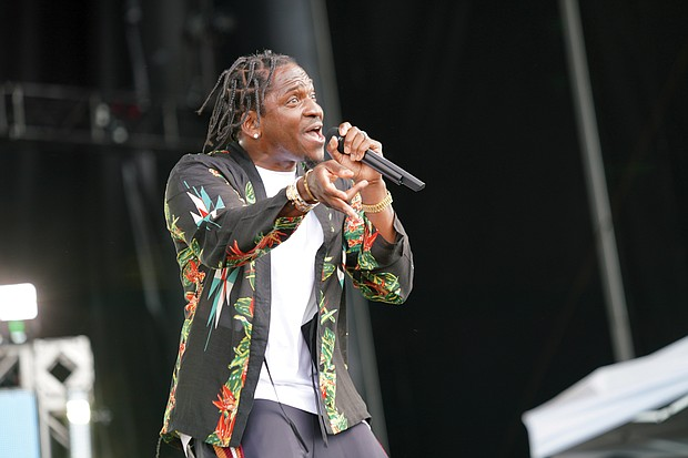 Performer Pusha T of Virginia Beach plays to the  audience.
