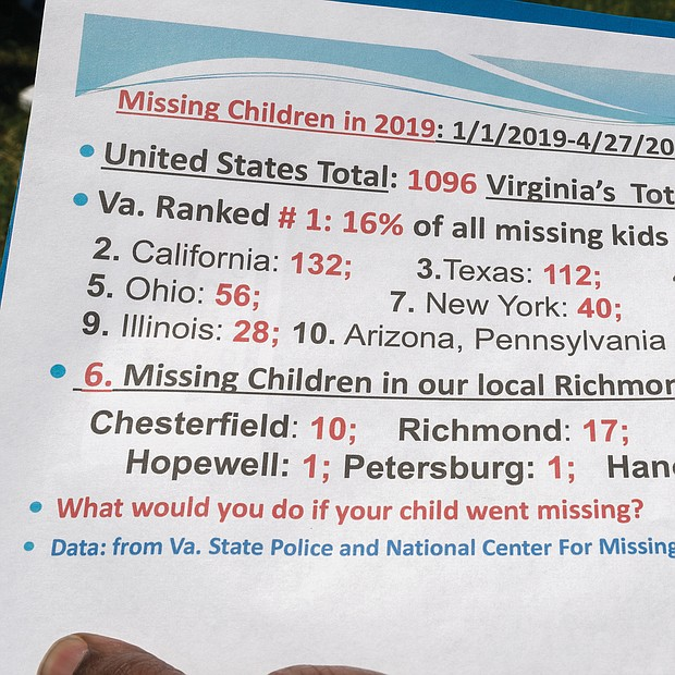 Families shared stories about their missing loved ones last Saturday during the 3rd Annual Richmond Missing Persons Day Rally at Chimborazo Park. (Ava Reaves)