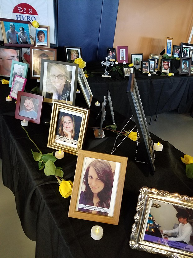 The summit included a memorial featuring photos of dozens of people who have died of a drug overdose. In 2018, more than 2,000 people in Illinois lost their lives to an overdose.