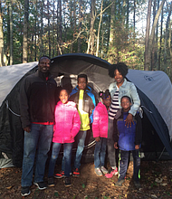 Family camping trip in Anne Springs in South Carolina