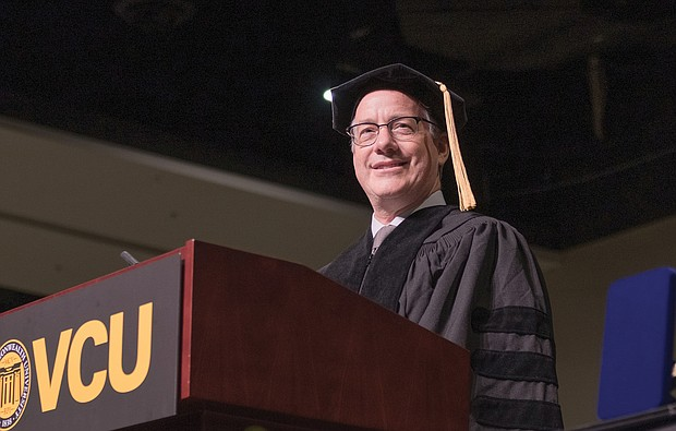 Andrew C. Florance, founder and chief executive officer of CoStar Group, tells graduates about how his life changed from adversity to success during Virginia Commonwealth University's commencement last Saturday. Nearly 5,000 students earned degrees from VCU. Commencement exercises were held for the first time at the Greater Richmond Convention Center in Downtown because the Richmond Coliseum is closed.