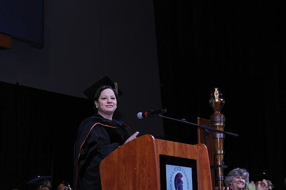 State Sen. Jennifer L. McClellan literally returned home when she delivered the address at the first of two separate commencement ...