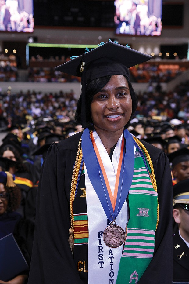 Valedictorian Tiffany M. Tucker of Dinwiddie County is recognized during ceremonies for having the highest GPA in the Class of 2019. She earned a degree in business management and plans to enroll in graduate school in the fall.