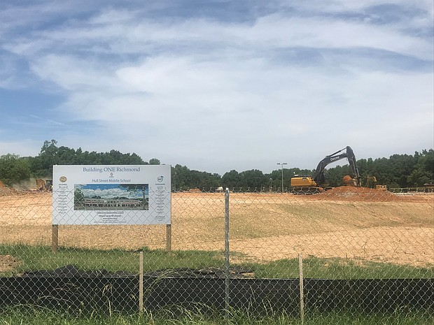 Site work is taking place for Richmond Public Schools' new middle school at 6300 Hull Street Road in South Side. The initial $50 million cost has now risen to more than $60 million.