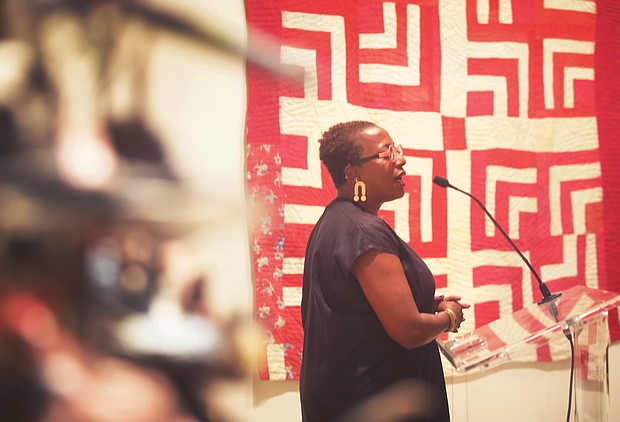 """Curator Valerie Cassel Oliver leads a discussion and preview Wednesday for the Virginia Museum of Fine Art's new exhibition, """"Cosmologies from the Tree of Life: Art from the African American South,"""" which opens Saturday."""