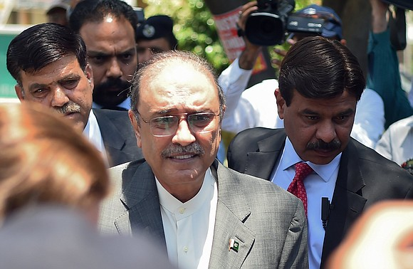 Pakistan's former President Asif Ali Zardari was arrested Monday on corruption charges after a court rejected his bail application.