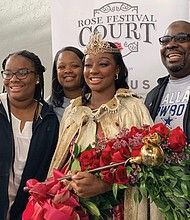 Newly crowned 2019 Rose Festival Queen Mya Brazile of St. Mary's Academy with her mom, dad and sister.