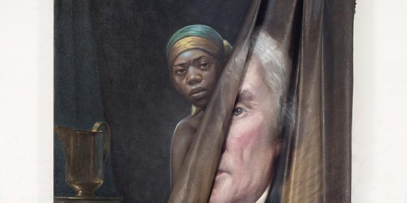 "Titus Kaphar's ""Beyond The Myth of Benevolence,"" Kara Walker's ""African/American,"" and Aaron Douglas' ""Into Bondage"" move slowly across the screen ..."