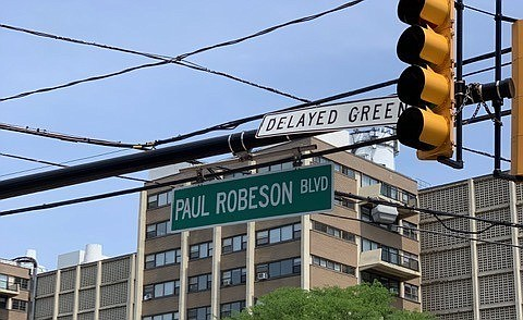 """Eighteen signs are now in place in New Brunswick bearing """"Paul Robeson Blvd."""" replacing what used to be Commercial Avenue."""