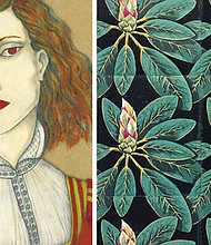 Denise Althea Graham paints moody portraits of women framed by symbolic borders (left) and Gail Owen creates linoleum relief prints that are hand sewn together.