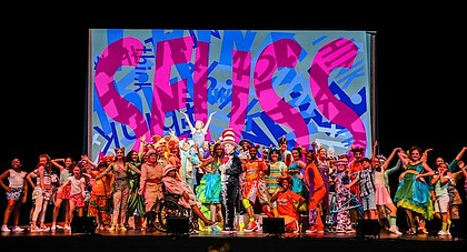 The Cast of TUTS Seussical. Photo Credit: Melissa Taylor.