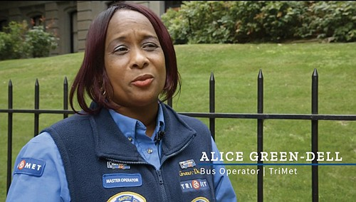 """""""When I'm doing something I love, I take pride in doing it,"""" said Alice Green-Dell, TriMet's Bus Operator of the ..."""