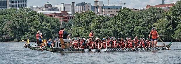 Dragon boat racing marked its 10th year in Richmond with a festive event Saturday highlighted by the paddle-powered competition on the James River. (Sandra Sellars/Richmond Free Press)