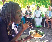 In addition to being a hub for healthy food for diverse and low income communities in north Portland, Village Gardens also provides a gazebo in the garden for community gatherings, such as the potluck held during City Commissioner Jo Ann Hardesty's visit to the non-profit last month.