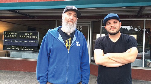 """Jeff McCall (left) and Grant Burgess are the creators of """"Midschool,"""" a new inclusive and low barrier digital music education program in Gresham."""