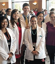 Oregon Health and Sciences University welcomes incoming students to campus, the school's most racially diverse group ever of future doctors. The class of 2023 includes Native Americans and Native Alaskans recruited as part of a special outreach,  pictured here with faculty and program staff.