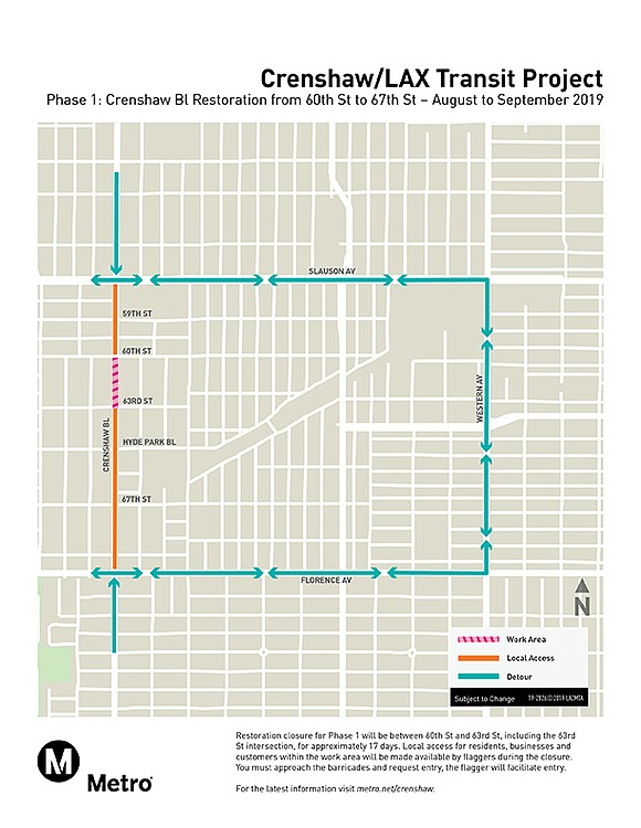 A segment of Crenshaw Boulevard in the Hyde Park area has closed for a..