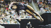 Simone Biles competes in the floor exercise during the senior women's competition at the 2019 U.S. Gymnastics Championships last Sunday in Kansas City, Mo.