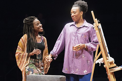 """Kimberly Monks (Riley) and Christiana Clark (Tami) star in """"How to Catch Creation"""" at the Oregon Shakespeare Festival in Ashland, a play featuring an excellent cast of six African American characters and projecting voices that ring with a clarity borne of struggle."""