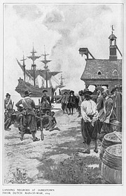 Illustration of the first Africans brought to Virginia in 1619. Published in Harpers Monthly magazine in January 1901.