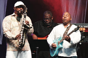 Saxophonist Everette Harp of Jazz Funk Soul gets into a groove with Ronnie Jenkins and Paul Jackson. (photo by Randy Singleton)