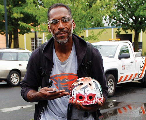 Robert Banks keeps up with the activities of the racist Proud Boys and was surprised when he saw one of them throw their helmet away in Washington Park after a march, which Banks quickly retrieved. He said he felt the helmet was discarded because the man did not want to be recognized. Helmets have been worn by both right and left wing protesters at rallies in Portland that spiraled into combat.