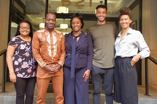 Daniel Capuia (second from left) and his wife Dr. Alisha Moreland-Capuia (center), founders of the Portland-based Capuia Foundation, gather with the three future doctors who joined them in Africa this summer where they got valuable experience at a nonprofit medical clinic started by the Capuia family. Monique Hedmann (far left) and Shane Hervey and Kelley Butler (right) are the medical students pictured.