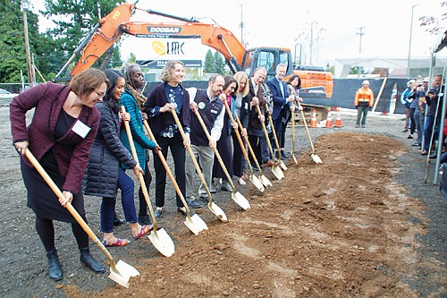 A groundbreaking for Halsey 106, a new six-story housing complex coming to the Gateway neighborhood of northeast Portland, draws several public dignitaries on Friday, including Mayor Ted Wheeler and City Council Member Jo Ann Hardesty. Designed to help Portland's housing crises, the construction will create 52 new affordable housing units and provide a new public services headquarters for Human Solutions, a nonprofit.
