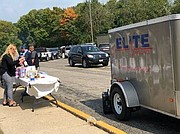 Elite's trailer sits outside WCHD main building as the picnic gets underway.