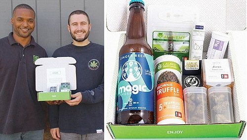 """Adrian Wayman (left), the minority owner of a unique cannabis dispensary in Portland called Green Box, and his employee Spencer Gray and one of their """"green boxes"""" of marijuana products for home delivery, the first business of its type in the state. Green Box was a recent recipient of a grant underwritten by Prosper Portland to bolster minority-owned films in the legal cannabis businesses."""