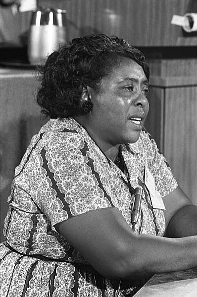 Fannie Lou Hamer, American civil rights leader, at the Democratic National Convention, Atlantic City, New Jersey, August 1964. This image is available from the United States Library of Congress's Prints and Photographs division.