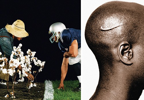 """""""The Cotton Bowl"""" (left), and """"Branded Head"""" are two of the thought-provoking works by African American multimedia artist Hank Willis Thomas from his """"All Things Being Equal"""" exhibit."""