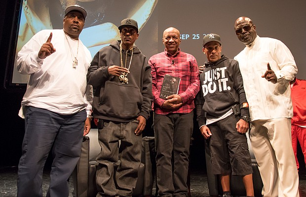(L-R) Eric B., (hip hop DJ and producer of Eric B. & Rakim), Rakim (of Eric & Rakim), Ralph McDaniels, Korey Wise (of the Exonerated  5)