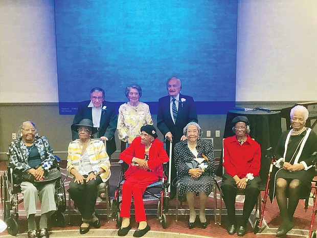 At 100, every day is a celebration, but it's even better when the community recognizes your longevity. Eleven Richmonders were honored Sept. 21 at the 7th Annual Mayor's Centenarian Celebration to publicly recognize city residents who turned 100 or older during 2019. Nine of the honorees attending the luncheon event held at a Downtown hotel are, seated from left, Lillie Etta Corbin Berry, 101; Josephine Johnson Bigger, 102; Virginia Price White, 103; Hattie Smith Carter, 99; Juliette Stephens Hamilton, 101; and Marguerite Williams Price, 99. Honorees in the back row, from left, are Norbert Robert Kopecko, 100; Shirley Craze Wiegand, 100; and Henry Cesly, 102. (Regina H. Boone/Richmond Free Press)