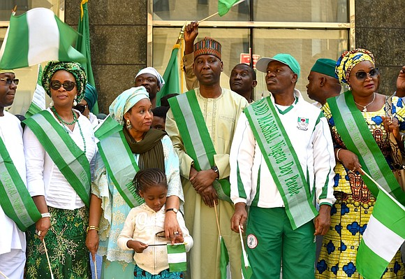 Manhattan's Second Avenue was transformed into a sea of green and white as The Organization for the Advancement of Nigerians ...