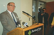 Portland State University Interim President Stephen Percy holds a brief news conference Thursday to answer questions on the school's new safety plan.