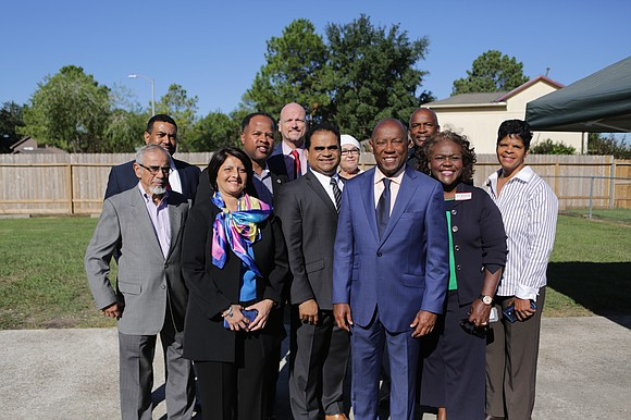 At a news conference in Chasewood, part of Fort Bend County in the City of Houston, elected officials lined up ...